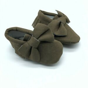 Toddler Girls Moccasin Slippers Faux Suede Fringe Bow Soft Sole Brown Size 4