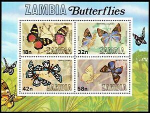 ZAMBIA 223a (SG320) - Butterflies of Zambia Souvenir Sheet (pa84233)