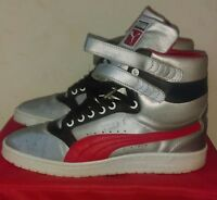 Silver black and red Hi Top Puma ,Size 9