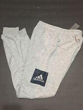 adidas Men's Training Essentials Box Logo Grey Navy Sweat Pants SMALL NEW BK7440