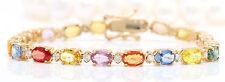 12.74CTW Natural Ceylon Sapphire & Diamonds in 14K Solid Yellow Gold Bracelet