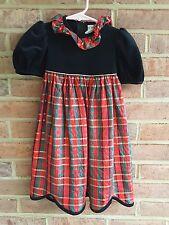 Vintage Ruth of Carolina Girls Plaid Holiday Dress size 2 years USA made