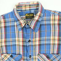 Vtg 70s 80s Dee Cee Mountain Twill Shirt Mens S/M? Trucker Faded Plaid USA Chore