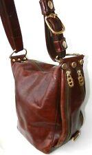 MARINO ORLANDI brown genuine leather shoulder bag bucket MADE in ITALY