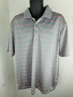 Grand Slam Golf Shirt Performance Polo shirt Gray striped Polyester 2XL XXL