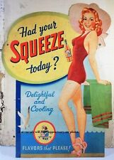 Sexy Squeeze Soda Ad Girl PHOTO Bar Sign Vintage Bathing Suit Hot Bikini Girl