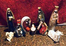 Beautiful Painted Pottery 9 Figures Nativity Set Earth-tone Glazed Colors