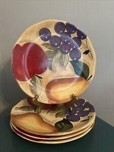 "Home Trends Verdona 11"" Dinner Plate Set Of 4 Fruit Themed - Apples/Grapes/Pear"