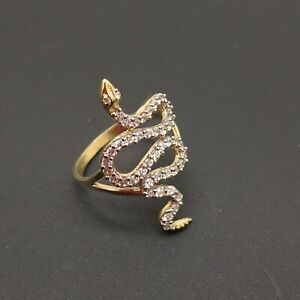 10k Yellow Gold Cubic Zirconia Snake Shape Ring Size 7