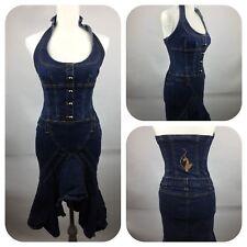 Baby Phat Dark Wash Denim Halter Dress Size 3