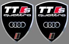 2 adhésifs stickers noir et chrome AUDI TTS QUATTRO (idéal pour ailes avant)