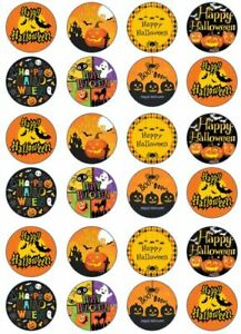 Happy Halloween Edible Cup Cake Toppers With Iconic Bat Images