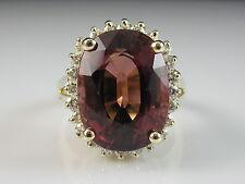 14K Pink Tourmaline Diamond Ring Yellow Gold Halo Princess Diana Estate $5850