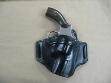 "Smith & Wesson S&W 686, 586  2-3"" Leather 2 Slot Pancake Belt Holster BLACK RH"