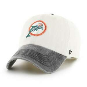 MIAMI DOLPHINS LEGACY RAW WHITE APOLLO CAP 47 BRAND CLEAN UP STRAPBACK DAD HAT