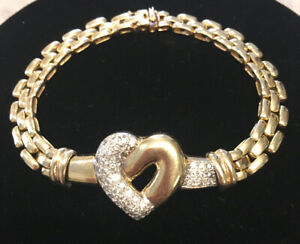 14k Yellow Gold Panther Link Pave Heart Bracelet ❤️