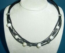 black leather necklace with white pearls, s.steel balls and clasp 1448