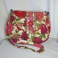 Vera Bradley Hello Dahlia Saddle Up Purse Crossbody Bag Ring Red Purple Flowers