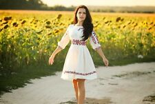 Ukrainian embroidered Womens Dress, sorochka, vyshyvanka, embroidery, Size S