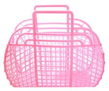 "NEW Vintage Retro PINK 13"" (1980's) JELLY Plastic Purse/Handbag (Made in USA)"