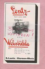 VIERSEN, Werbung 1928, S. Lentz Web-Stühle Maschinen
