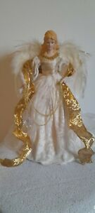 Large Christmas Tree Topper Angel Vintage Ceramic Face Feathers gold white chain