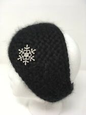 Women Kerchief Hand Knit 100% Angora Black color Fashion Brooch Warm Headscarf