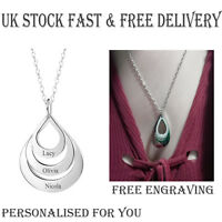 Personalised 3 Droplet Ring Pendant Silver Plated Name Necklace Christmas Gift
