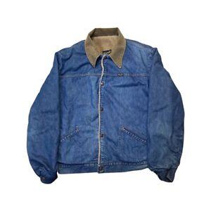 Vintage Wrangler Fleece Lined Corduroy Collar Denim Jacket - Size: Large (46)