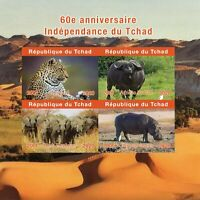 Chad Wild Animals Stamps 2020 MNH Independence Elephants Leopards 4v IMPF M/S