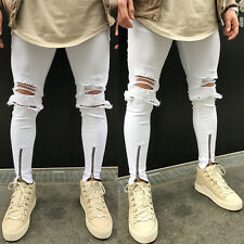 Men's Distressed Ripped Destroyed Wash Denim Zipper Ankle Skinny Jeans UK STOCK