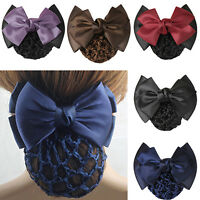 Women Bow Barrette Hair Clip Bowknot Bun Snood Hairnet Accessory Glittery