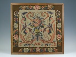 VINTAGE ANTIQUE BERLIN STYLE WOOLWORK PANEL TAPESTRY WOVEN TEXTILE EMBROIDERY
