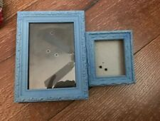 """2 Small Painted Carved Picture Frames  Shabby Chippy Blue Decor 6.5x 4 & 4x3.5"""""""