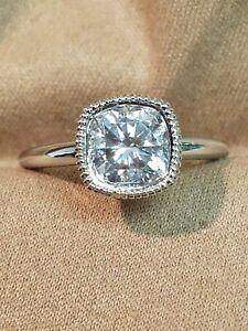 14K White Gold Moissanite Engagement Ring Size 9