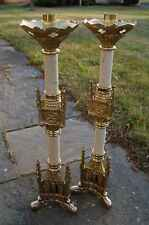 """+Pair of Ornate Church Candlesticks, 19"""" tall + chalice"""