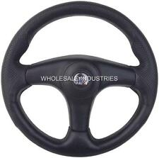 "APC RACING STEERING WHEEL BLACK 13"" 3 SPOKE NEW GOLF CART RANGER RHINO RZR UTV"