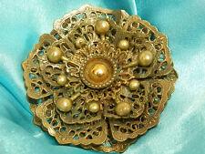Signed NE New England Glass Works Vintage 40s Gold Tone Flower Dress Clip 1886n