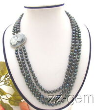 N0701012 3Strds Black Round Pearl Necklace-Cameo Clasp
