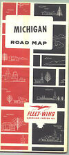 1965 Fleet Wing Gasoline Michigan Vintage Road Map / Not a common map