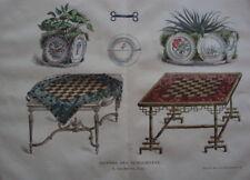 GRAVURE JOURNAL DES DEMOISELLES TABLE JEUX DE DAMES 19E