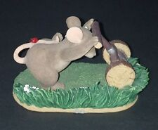 Fitz Floyd Charming Tails Figurine - Mow, Mow, Mow The Lawn Excellent Condition