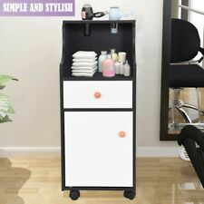 Two-color Styling Station Barber Cabinet Beauty Spa Salon Equipment w/ 4 Wheels