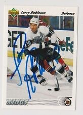 91/92 Upper Deck Larry Robinson Los Angeles Kings Autographed Hockey Card