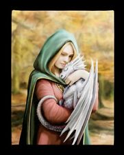 Kleine Leinwand mit Drache - Safe Haven - Anne Stokes Poster Bild Druck Deko