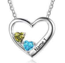 Personalized Sterling Silver 2 Stone 1 Name Mothers or Anniversary Necklace