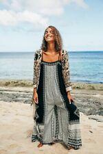 Free People Hazel Mixed Print Jumpsuit Black White Paisley XS S M$128
