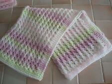 Handmade:Lovely Handknitted White/Pink/Lilac/Green Acrylic Baby Blanket-crib etc