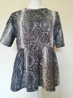Zara Snake Skin Print Peplum Womens Top Short Sleeve Grey Black White UK Size M