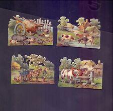 4 Nice Vintage,Scraps Largest 82 x 57 mm Farmyard Scenes    (SB 1)
